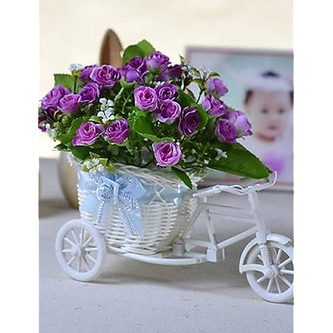 Home decorazione di fiori artificiali, il fiore di simulazione tuta auto rurale Fiori artificiali in poliestere / Plastica rose fiori artificiali , pink