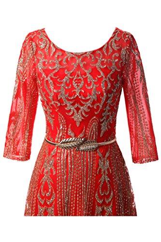 ivyd ressing Femme élégant longue robe robe ceinture A ligne Party Prom Lave-vaisselle manches Robe Robe du soir Rouge