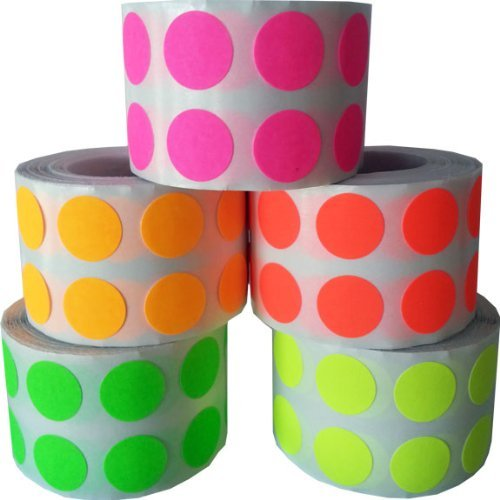 Circulo Punto Pegatinas 5 Fluorescente Color Paquete, 13 mm 1/2 Pulgada Redondo, 1000 Etiquetas de Cada Color en un Rollo