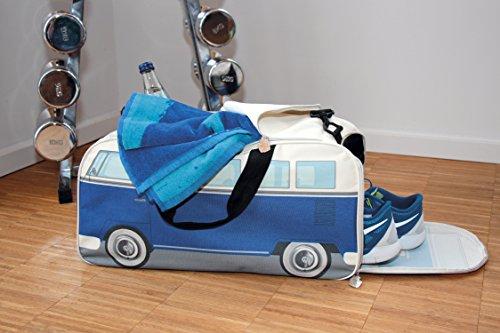 VW Collection by BRISA Kleine Sporttasche Reisetasche im VW Bus T1 Design Blau/Beige