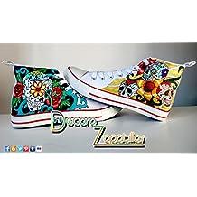 Zapatillas customizados personalizados lona Calaveras Mexicanas, regalos cumpleaños - regalos para el - regalos para