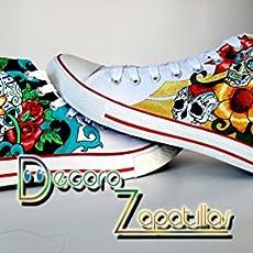 Zapatillas customizados personalizados lona Calaveras Mexicanas, regalos cumpleaños.