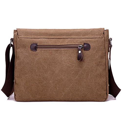 Leicht Stilvoll Herren Canvas Umhängetasche Messenger Bag für Alltag Reise Büro Geschäftsreise Braun
