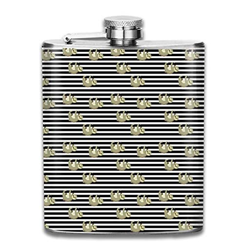 Sloths On Stripes_731 Wine Flasks Hip Flask with Funnel Stainless Steel 7 OZ Multicolor