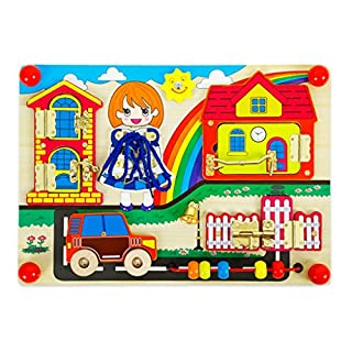 Homyl Wooden Montessori Practical Life Material Lock Latches Board with Beads Car Puzzle Sensory Basic Skill Learning Montessori Baby Activity Toys