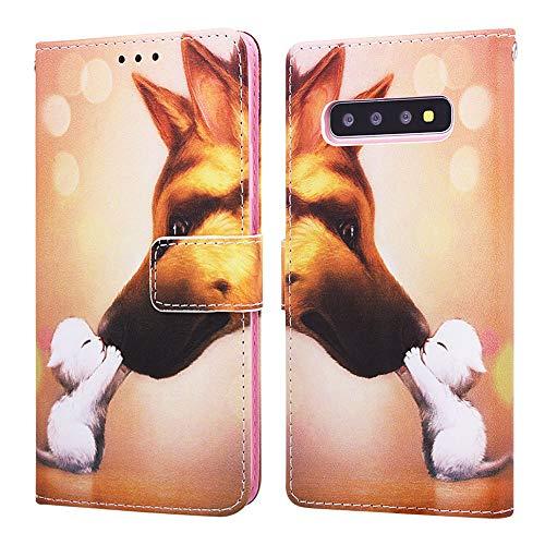 Nadoli Leder Hülle für Galaxy S10,Bunt Hund Malerei Ultra Dünne Magnetverschluss Standfunktion Handyhülle Tasche Brieftasche Etui Schutzhülle für Samsung Galaxy S10 (Cool, Senden Einheit)