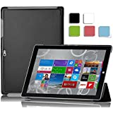IVSO Microsoft Surface 3 Smart Case - Ultra-Slim and Ultra-light PU Leather Folio Case Stand Cover for Microsoft Surface 3 Tablet (2015 Version) - with Magnetic (Black)