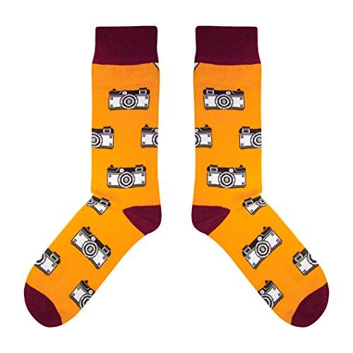 CUP OF SOX - Foto/Kamera/Hipster - Socken in der Tasse - Herren und Damen Geschenksocken Freizeit Socken, Orange, 41-44 (Kameras, Foto)