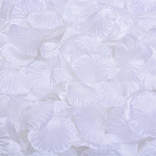 (Skyllc Weiße Simulationsrosenblumenblätter künstliche gefälschte Gewebe-Hochzeits-Blumendekoration und -versorgungen)