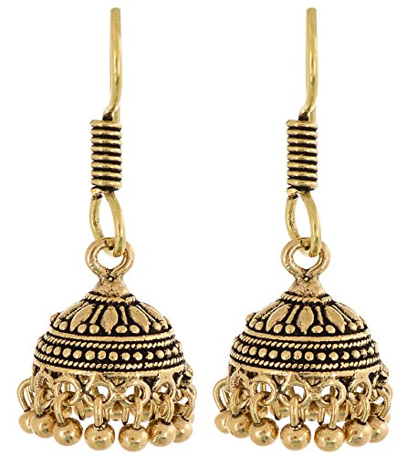 Waama Jewels Jhumki Earrings, Golden Color College Wear Oxidised Earring For Girl, Artificial Jewellery, Gift For Lover, Beautifull today, Vintage Fashion  available at amazon for Rs.99