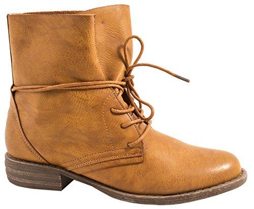 best-boots Damen Stiefelette Boots Worker Stiefel Camel 2 jhCzX