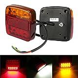 Hunpta 2 Anhänger LKW 26 LED Rücklicht Bremse Blinker Nummernschild Licht Bremsleuchte