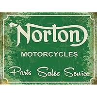 Norton Part Vendite servizio. Verde motori cycles biciclette. Britannico Classico. Segnale Garage, vecchio rétro, vintage in design. Metallo/Targa Da Parete in Acciaio - 30 x 40 cm - 4 Cycle Motori A Gas