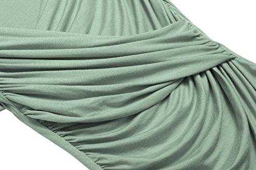 9fe12d030cf02f Zeagoo Damen V-Ausschnitt Langarmshirt Tunika Bluse Obertail T-Shirt mit  Rüschen Grün