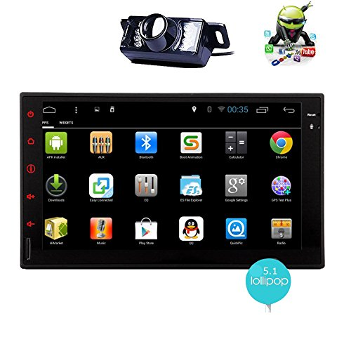d Core Android 5.1 Double Din Car Stereo 7 inch capacitive touch screen tablet entertainment - InDash head unit FM RDS radio tuner, WiFi, Bluetooth hands free, GPS navigation ()