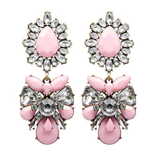 schmücken Ava Statement Oversize Pink Kronleuchter Jewel Ohrhänger mit Kristall klar Strass