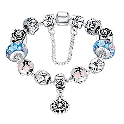Presentski Charm Bracelets with Blue Handmade Lampwork Beads and Love Heart Safety Chain