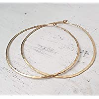 Gehämmerte Hoop Ohrringe 14k Gold gefüllt große Hoop 2,5 Zoll 65mm handgemachte Paar Ohrringe