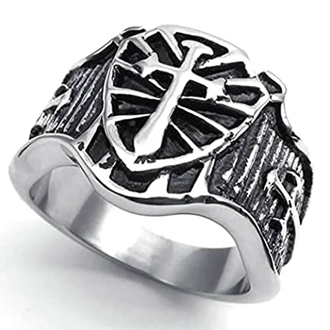 AMDXD Jewelry Stainless Steel Wedding Bands for Men Silver Cross Sword Shield Shaped 17MM,Size Z 1/2