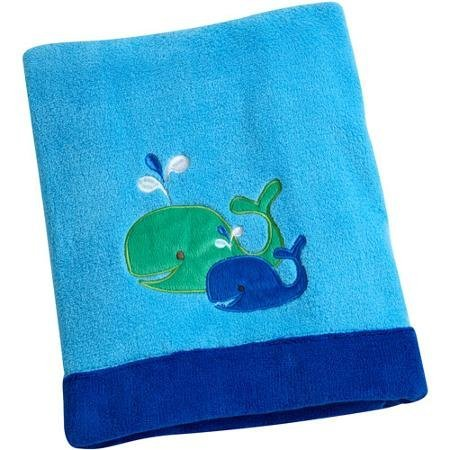 Baby Boy Blue and Green Whale Blanket