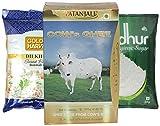 #4: Big Bazaar Combo - Madhur Pure Sugar, 5kg + Golden Harvest Basmati Rice - Dilkhush Swaad Bemisaal, 5kg + Patanjali Cow's Ghee - 1L (Pack of 3) Promo Pack