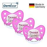 Dentistar® Schnuller 3er Set- Nuckel Silikon in Größe 3, ab 14 Monate - zahnfreundlich & kiefergerecht - Beruhigungssauger für Babys - Pink Drama Queen
