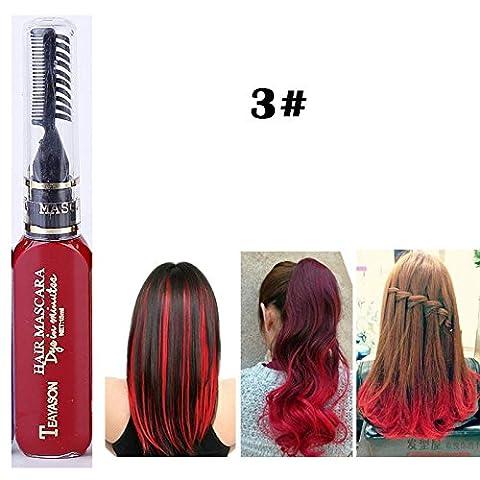Coloré Crème Colorant De Cheveux Mascara de Teinture Hair Dye Temporaires Non Toxiques Semi-permanente Shimmer Crème Rouge