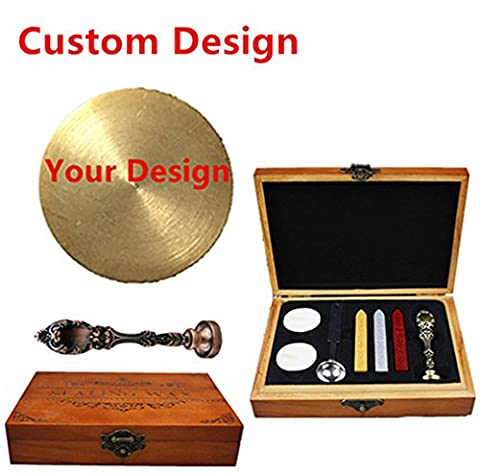 MNYR Gold Customized Picture Logo Monogram Letters Personalized Your design Wax Seal Sealing Stamp Wedding Invitation Metal Wax Sticks Candles Melting Spoon Wood Gift Box Set