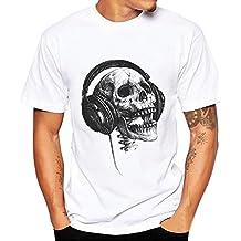 Rameng Homme T-shirts Graphiques Décoratifs En Forme De Crâne Coloré