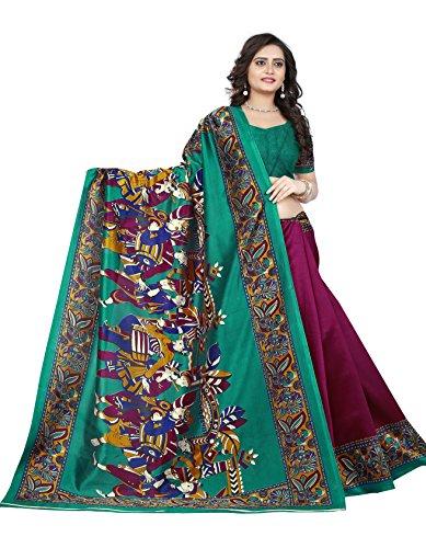 Jaanvi Fashion Women\'s Art Silk Kalamkari Printed Saree (Wine_Warli)