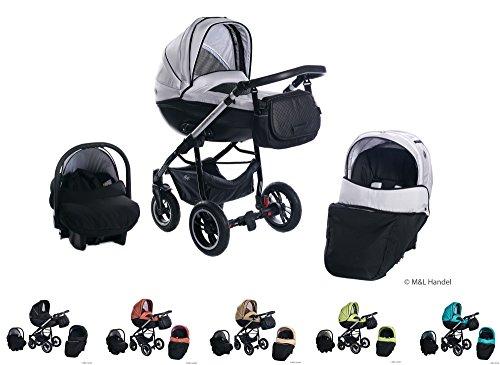 Clamaro 3 in 1 'Comfort VIP 2018' Kombi Kinderwagen aus Aluminium im Leder Design mit Babywanne, Sport Buggyaufsatz, Maxi Cosi Babyschale (ISOFIX), Silber