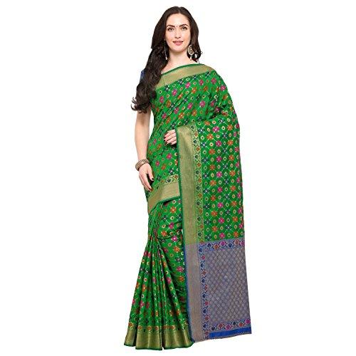 Janasya Women's Green Silk Patola Saree With Unstitched Blouse (SR038-10549-GREEN)