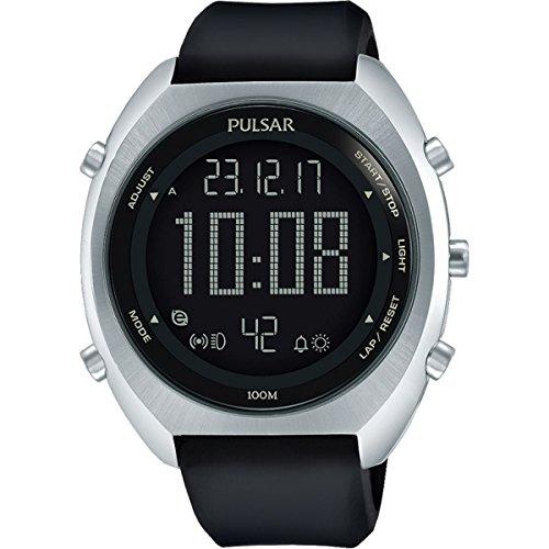 Pulsar Herren Rubber Strap Weltzeit-Uhr mit Alarm und Stoppuhr p5a023X 1