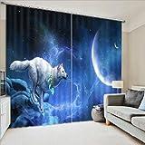 YAN 3D Blue Wolf In Night Pattern Vorhang Persönlichkeit Blackout UV Printing + Haken Design Landschaft Blick Für Schlafzimmer Wohnzimmer Kinderzimmer Vorhänge (Size : 3.0x2.7m)