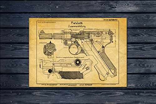 UpCrafts Studio Design P08Luger Deutsche Pistole Blueprint-p-08Luger 9mm Gun Patent Print 24x36 Old Look Yellow -