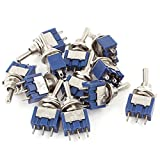 sourcingmap® AC125V 6A SPDT ON-OFF-ON Latching Miniature Toggle Switch 12pcs