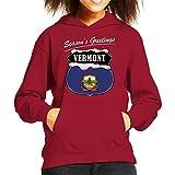 Seasons Greetings Vermont Christmas Kid's Hooded Sweatshirt