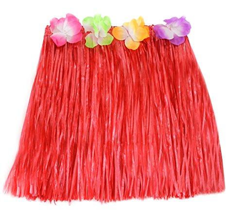 Rojo-Hawaiian-Hula-falda-corta-de-40-cm-con-largo-diseo-de-flores-fiesta-disfraz-infantil-de-Beach-Party