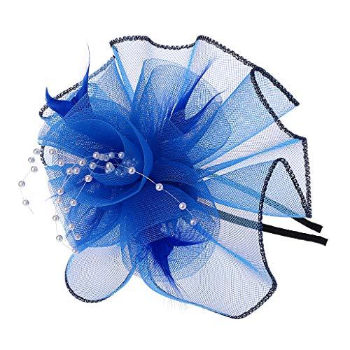 (Manyo Frauen Federn große Blume Stirnband Fascinator Perlen Haarband schwarzen Rand solide (Hellblau))