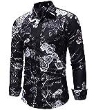 Versaces Männer Hemd Schwarz Blume Drucken Schmale Passform Lange Ärmel Freizeit Hemd, Black, M