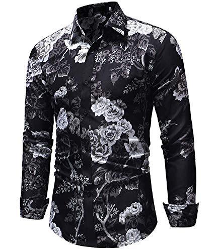 Versaces Männer Hemd Schwarz Blume Drucken Schmale Passform Lange Ärmel Freizeit Hemd, Black, L
