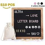 Tablero de letras de fieltro con 510 letras reemplazables y emojis, 25,4 x