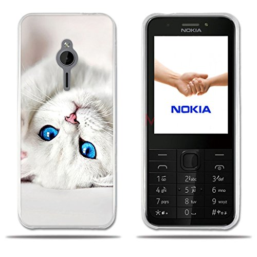 Fubaoda Nokia 230 Hülle, [Weißes Kätzchen] Transparentes Silikon Clear TPU Modernes Design Design Kreatives Design Slim Fit Shockproof Flexible Stylish Silikon Protector für Nokia 230