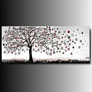 Art mmb albero a14 rosso 1 quadri moderni astratti for Quadri in bianco e nero moderni