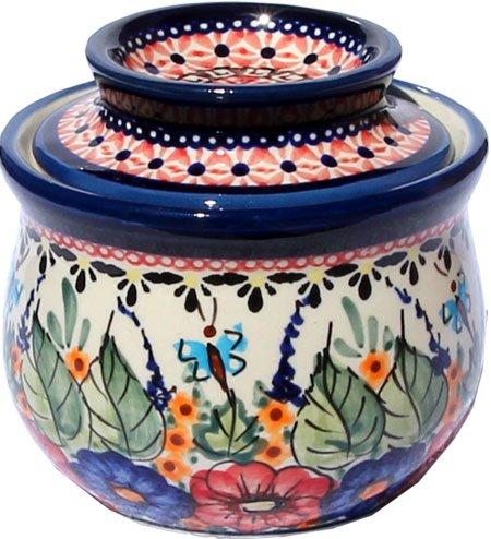 French Art Pottery (Polish Pottery French Butter Dish From Zaklady Ceramiczne Boleslawiec 1512-149 Art Unikat Signature Pattern by Polish Pottery Market)