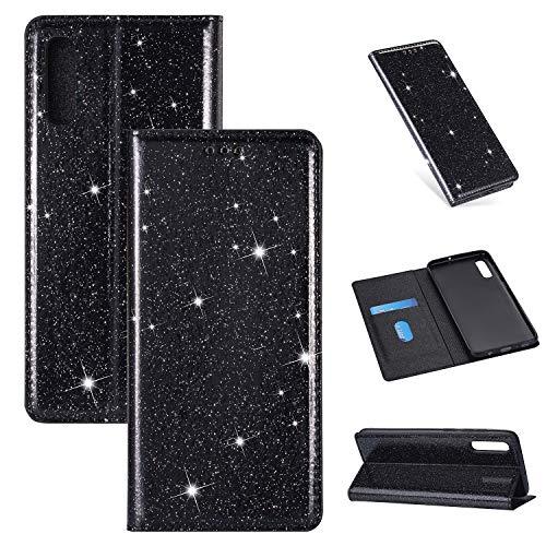 Nadoli Glitzer Wallet Hülle für Galaxy A7 2018,Bling Schutzhülle Leder Flip Case Lederhülle mit Kartenfach Standfunktion Klappbar Magnetisch Etui für Samsung Galaxy A7 2018