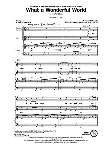 What a wonderful World - SSA and Piano - CHORAL SCORE