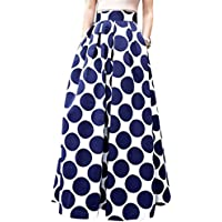 Runyue Mujer Vintage Faldas Largo Vintage Retro Patrón Point Alta Cintura De Cóctel Fiesta Rockabilly con