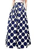 Runyue Mujer Vintage Faldas Largo Vintage Retro Patrón Point Alta Cintura De Cóctel Fiesta Rockabilly con Lazo