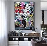 liuhaha Quadro su Tela Graffiti Astratti Wall Art Scimmia Stampa su Tela Poster e Stampe su Tela Immagini di Quadri di Einstein e Chaplin per Soggiorno